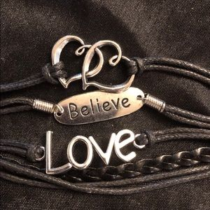 Jewelry - Black Love & Believe Friendship Bracelet
